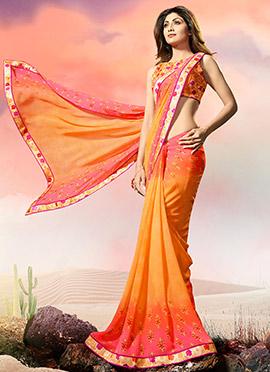 Shilpa Shetty Orange N Pink Dual Tone Saree