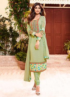 Shilpa Shetty Pale Green Churidar Suit