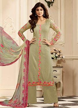 Shilpa Shetty Pale Green Georgette Palazzo Suit