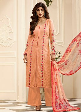 Shilpa Shetty Peach Georgette Palazzo Suit