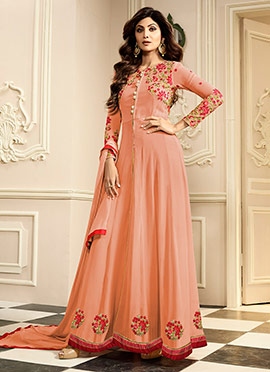 Shilpa Shetty Peach Georgette Straight Pant Suit