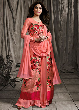 Shilpa Shetty Peach Long Choli Umbrella Lehenga