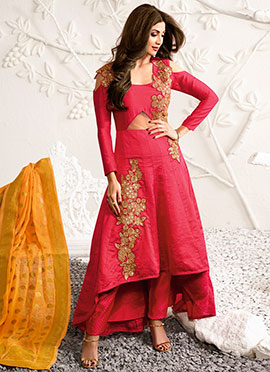 Shilpa Shetty Pink Cold Shoulder Straight Pant Suit