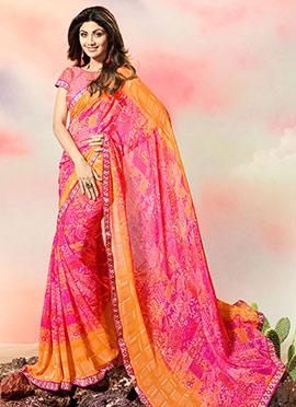 Shilpa Shetty Pink Georgette Saree