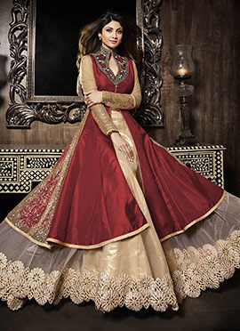 Shilpa Shetty Red Long Choli Umbrella Lehenga