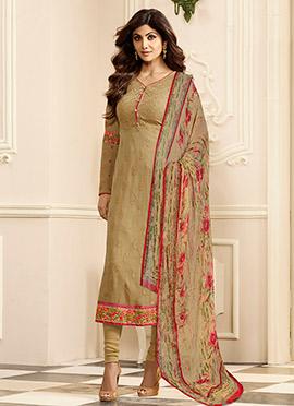 Shilpa Shetty Sage Green Georgette Churidar Suit