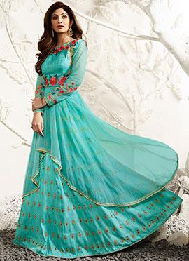 Shilpa Shetty Turquoise Long Choli A Line Lehenga