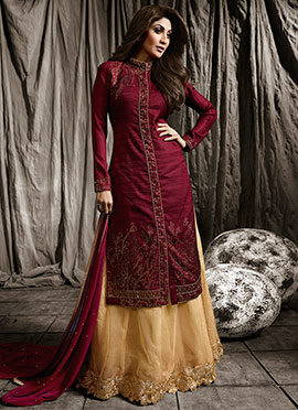 Shilpa Shetty Wine Long Choli A Line Lehenga