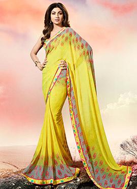 Shilpa Shetty Yellow Georgette Saree