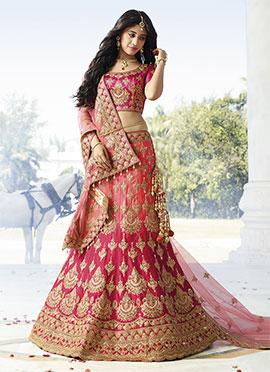 Shivangi Joshi Coral Pink N Magenta Satin Silk A Line Lehenga Choli