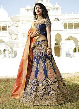 Shivangi Joshi Navy Blue Art Dupion Silk A Line Lehenga Choli