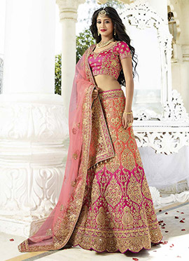 Shivangi Joshi Orange N Pink A Line Lehenga Choli