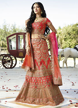 Shivangi Joshi Orange Satin Silk A Line Lehenga Choli