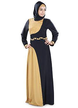 Shiza Crepe Black N Beige Abaya