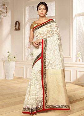 Shriya Saran Cream Benarasi Kora Silk Saree