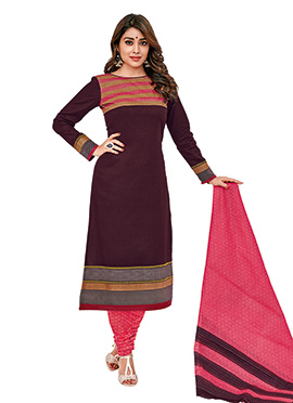 Shriya Saran Dark Brown Cotton Churidar Suit