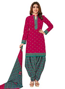 Shriya Saran Magenta Cotton Churidar Suit