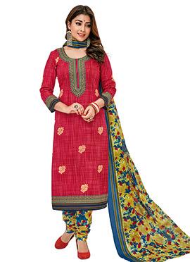 Shriya Saran Red Cotton Churidar Suit