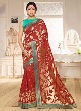 Shriya Saran Rust Benarasi Kora Silk Saree