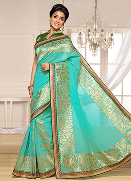 Shriya Saran Teal Blue Benarasi Kora Silk Saree