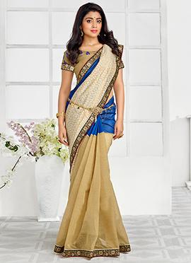 Shriya Saran Tri Colored Silk Cotton Saree