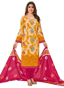 Shriya Saran Yellow Cotton Churidar Suit