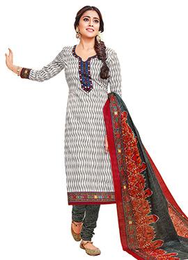 Shriya Sharan Grey N White Cotton Churidar Suit