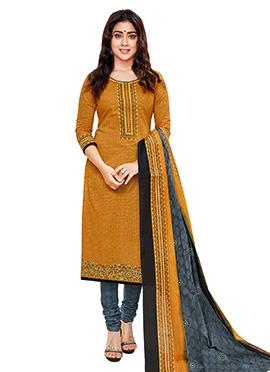 Shriya Sharan Mustard Cotton Churidar Suit