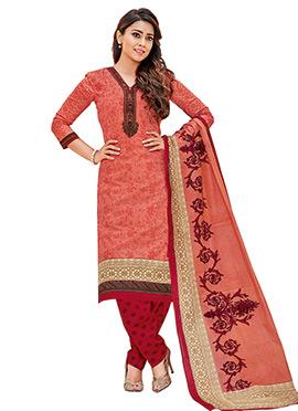 Shriya Sharan Peach Cotton Churidar Suit