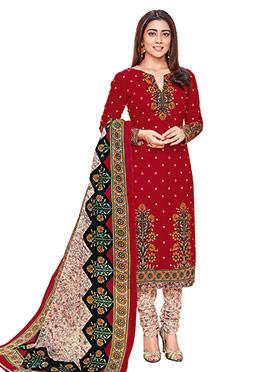 Shriya Sharan Red Cotton Churidar Suit