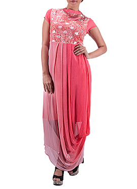 Shruts Pink Embroidered Draped Dress