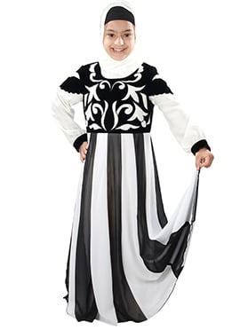 Shurafa Black N White Kids Abaya