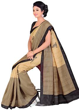 Beige Jute Art Silk Printed Saree