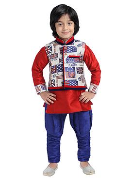 Blue N Red Silk Cotton Bandi Set
