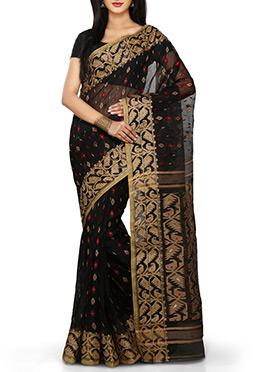 Silk Cotton Jamdani Black Bengal Handloom Saree