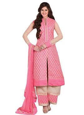 Silk Cotton Pink Palazzo Suit