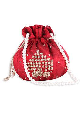 Silk Red Embellished Potli Bag