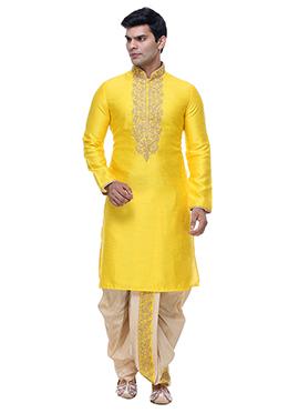 Silk Yellow Dhoti Style Kurta Pyjama