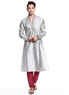 Silver Art Dupion Silk Kurta Pyjama