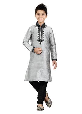 Silver Art Silk Kids Kurta Pyjama