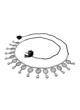 Silver Beads Saree Belt