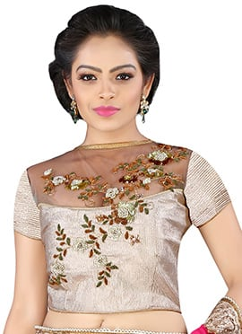 Silver Brocade N Net Blouse