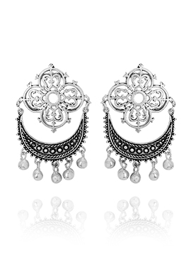Silver Chaand Bali Earrings
