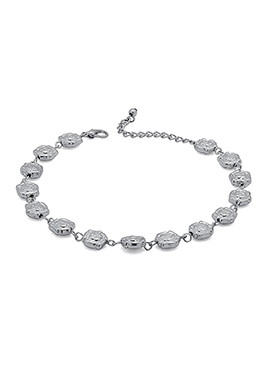 Silver Chain Floral Motifs Style Anklet