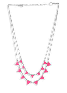 Silver Chain N Pink Stones Necklace