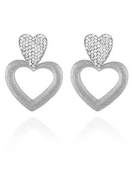 Silver Color Heart Shaped Dangler Earring