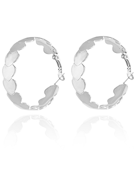Silver Color Round Shape Hoop Earring