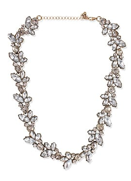 Silver Color Stone N Crystals Studded Necklace