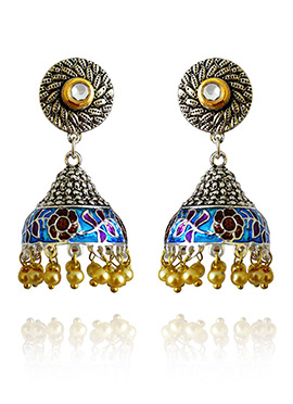 Silver Colored Blue Meenakari Jhumka Earring