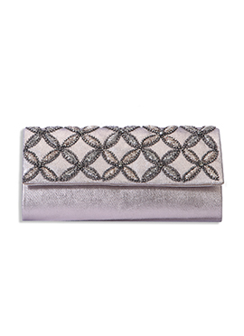 Silver Colored Embroidered Clutch